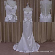 2015 Сексуальный Блестящий Кристалл Скромный Кружева Свадебное Платье