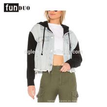 Chaqueta de mezclilla de manga larga fresca de moda chaqueta de las mujeres nuevas sudaderas con capucha
