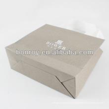 Bolsa de papel impresa / bolsa de papel promocional de lujo con asa de cinta de algodón