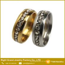 Moda de aço cirúrgico 316L diamante mais recente projeto de anel de dedo de ouro