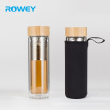Glass Water Bottle 500ml Tea Infuser Tumbler Bamboo Lid With Stainless Steel Loose Leaf Strainer