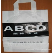Logo printed plastic shopping bag with handle