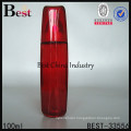 fancy red color cosmetic bottle, recycled glass lotion bottles, silk printing service, OEM