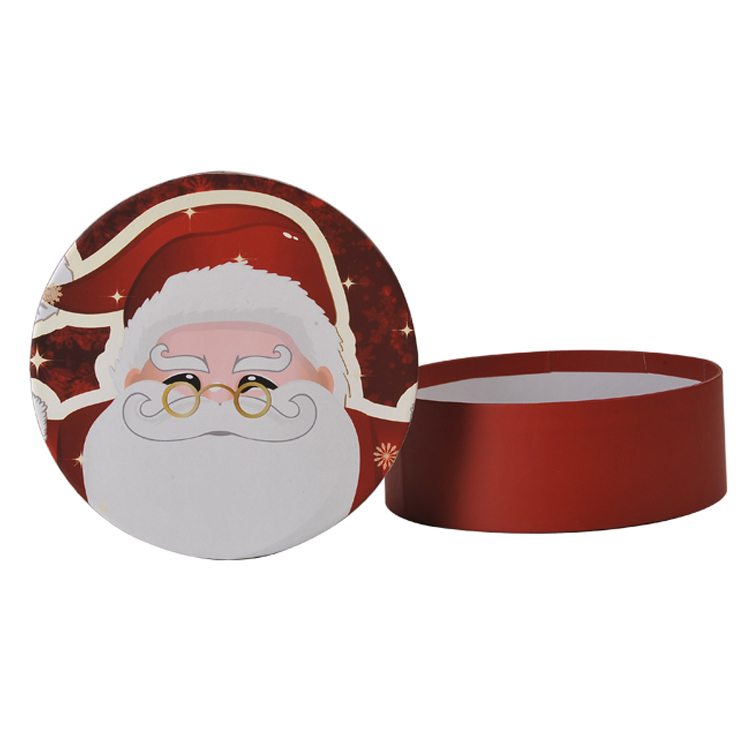 Fancy Custom Printed Round Santa Claus Gift Box