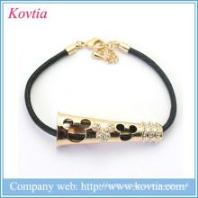 2015 novo design rato figura couro cordão metal ouro pulseira jóias cristal estiramento braceletes