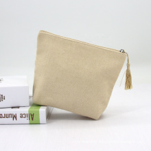 Natural Eco Friendly Jute Plain Makeup Bags With Logo Embroidery Tassel Zippered Burlap Cosmetic Bag