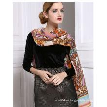 Lana de mesa impreso elegante mujer invierno bufanda