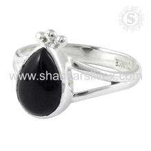 Scenic Black Onyx Gemstone anillo de plata al por mayor Jaipur 925 joyas de plata esterlina hecho a mano en línea de joyería de plata