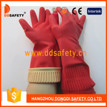 Red Flock Lined Long Beaded Cuff Household Working Glove DHL442