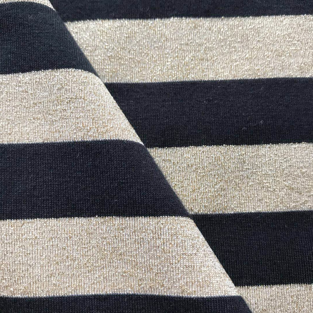 Gold black lurex fashion stripe spandex knitting jersey