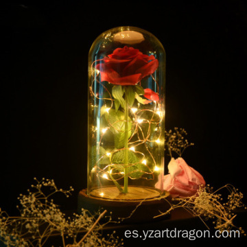 Wedding decor valentine gifts clear preserved rose in glass dome, Led glass dome with wooden base