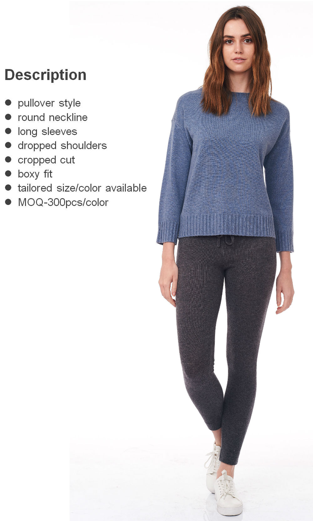 blue cropped round neck sweater front