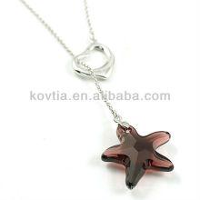 Cute pingente de cristal estrela e 925 colar de corrente de prata para meninas