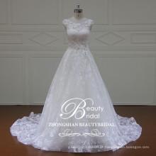 Bela e moderna nova moda aplicada vestido de noiva de uma linha vestido de noiva blusa embelezamento vestido de noiva