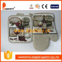 100% Cotton Printed Oven Gloves Pot Holder Safety Kitchen Gloves Dsr210