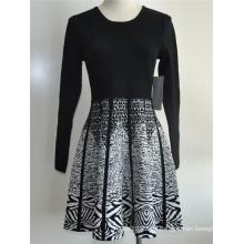 Viscosa Nylon Ladies Knit Sweater Vestido de una sola pieza