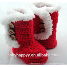 Baby Girl Handmade Crochet Knit Red Newborn Booties Chaussures
