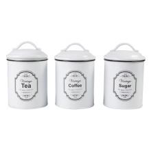 Ensemble de 3 bidons de ménage blancs vintage