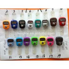 Venta caliente regalo promocional plástico electrónico mini anillo mano digital contador de cuenta