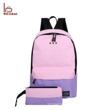 2 PCS fijaron el bolso de escuela de moda de la lona de la mochila de la escuela de los niños