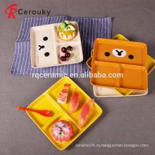 Пользовательские различные цвета керамические 3 отсека пластины, керамические разделенные пластины ужин