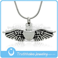 China Funeral Supplier Urn Cremation Jewelry Always in my Heart Angle Wing Jewelry Keepsake Cremation Urn Pendant Necklace