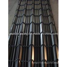 Hoja de techo de acero corrugado galvanizado en color negro