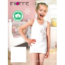 Miorre OEM Kid's Girl Cotton Classic Sleeveless White Tank Top Shirt Embroidered Camomile Design