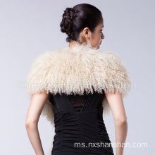 Custom Black Mongolian Lamb Fur Scarf Shawl