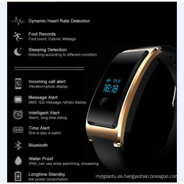 Impermeable incorporada USB Wechat Interconexión Heatrate Monitor El Bluetooth Sleep Monitoring Super-Long Espera Smart Watch con monitor de frecuencia cardíaca
