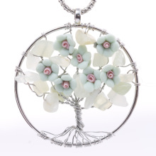 Flowers Ornament Tree of Life Stone Pendant Necklace