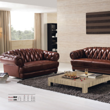 321 Ensemble de canapé en cuir Brown Chesterfield Brown
