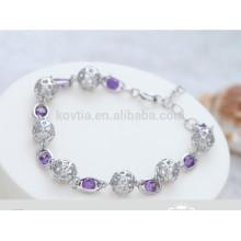 Bracelet en argent sterling 925 en forme de boule de cristal blanc et violet