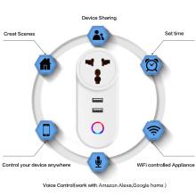 Chaoran Wifi Smart Home Commutateurs et Prises Prise Multiple Standard Indienne Électrique TUYA