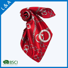 Polyester Satin Red Rope Chain Scarves Little Square Scarf