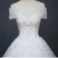 2018 Alibaba neue Sommer Kappe Ärmel Hochzeitskleid aus China nach Maß Brautkleid Brautkleid mit Spitze bis Design