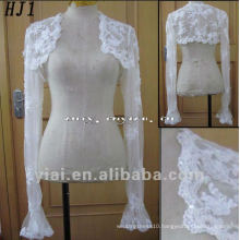 HJ1 Free Shipping High Quality Custom-made Beautiful Lace And Applique White Tuller Bride Jacket