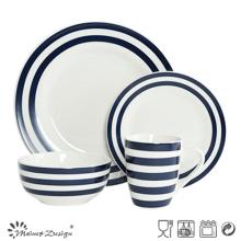 Cena de la porcelana 16PCS con la tira azul de la etiqueta y el diseño de los puntos