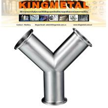Stainless Steel Clamp Y Type Tee Tube Fittings, 3A Bpe Tee