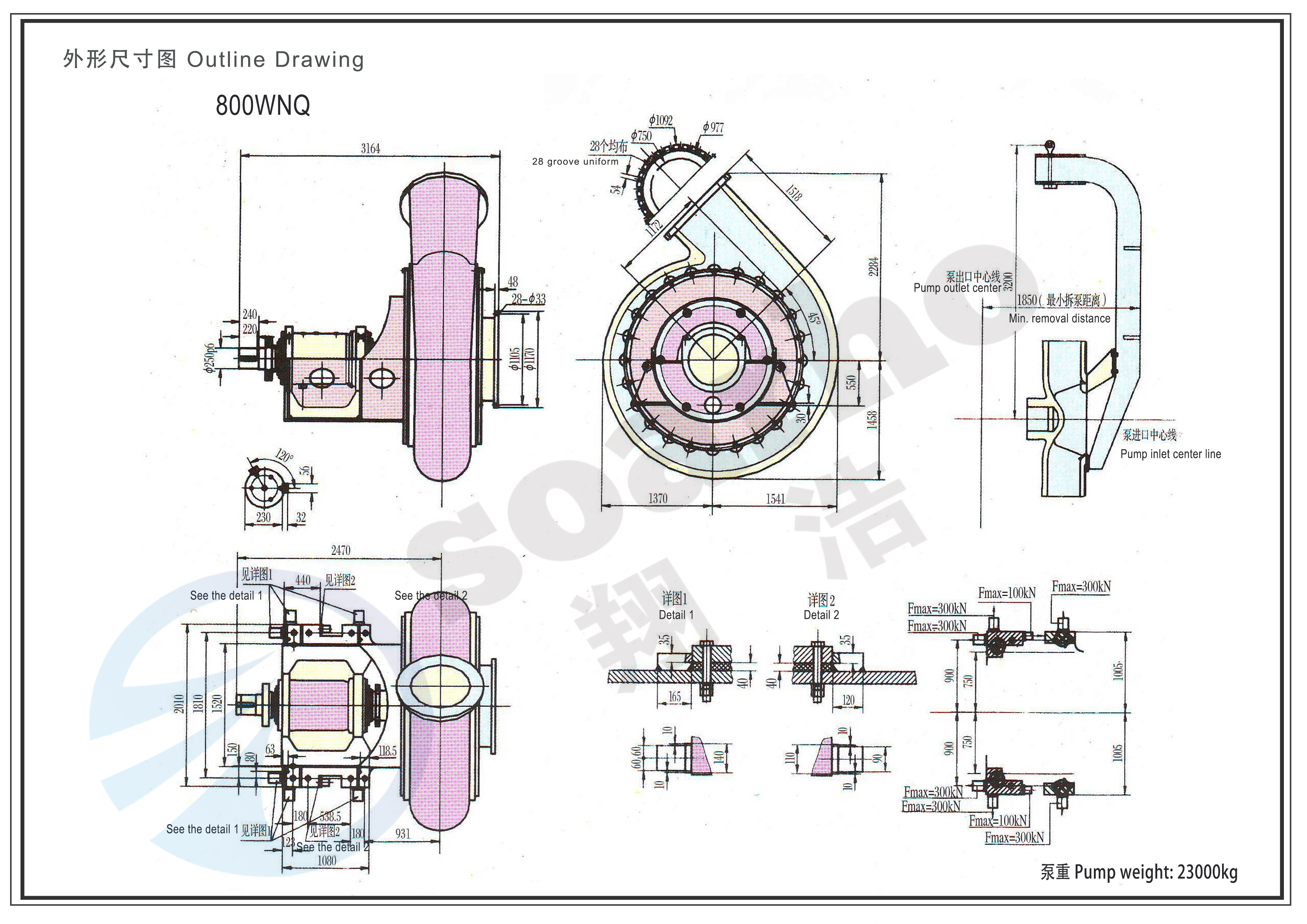 800mm Size Underwater Dredging Pump