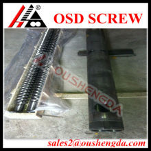Parallel twin screw barrel for recycling machine