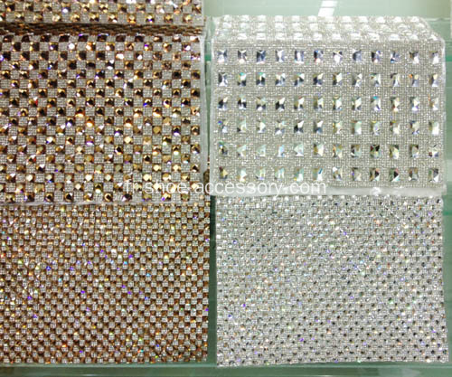 Hot-Fix Rectangle strass maille Trimming, Diamante Net