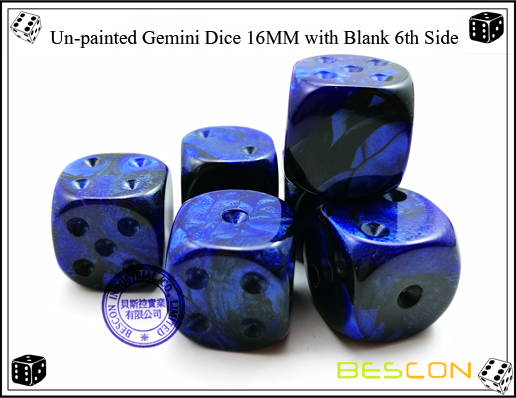 Un-painted Gemini Dice 16MM with Blank 6th Side-2