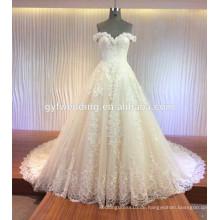 Custome machte preiswerte Kleid-Kappen-Hülse volle Spitze Appliqued Satin Tulle, das Schatz Alibaba Hochzeits-Kleid MQG verlängert