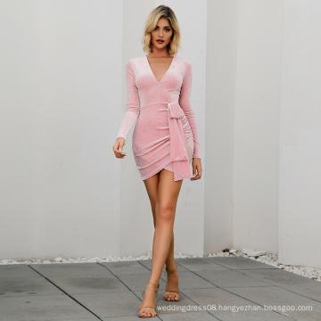 WEIXIN Fashion Start Bandage Asymmetrical Club Satin Tube Mini Bodycon Dresses