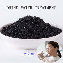 Carbono ativado de Shell do coco de 1-2mm para o tratamento da água da bebida