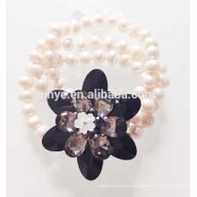 Мода Большой Черный Кристалл Цветок Заявление Жемчужный Браслет Жемчужный Браслет