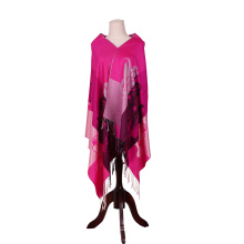 170*68cm Cotton Winter Scarf Bright Pink Pashmina for Lady