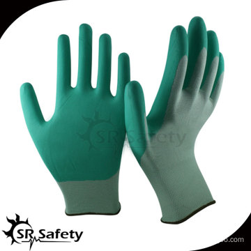 SRSAFETY 13 gauge knitted nylon liner coated water-based PU palm gloves safety working gloves