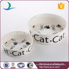 Lindo diseño cerámica al por mayor cuencos para mascotas para gatos